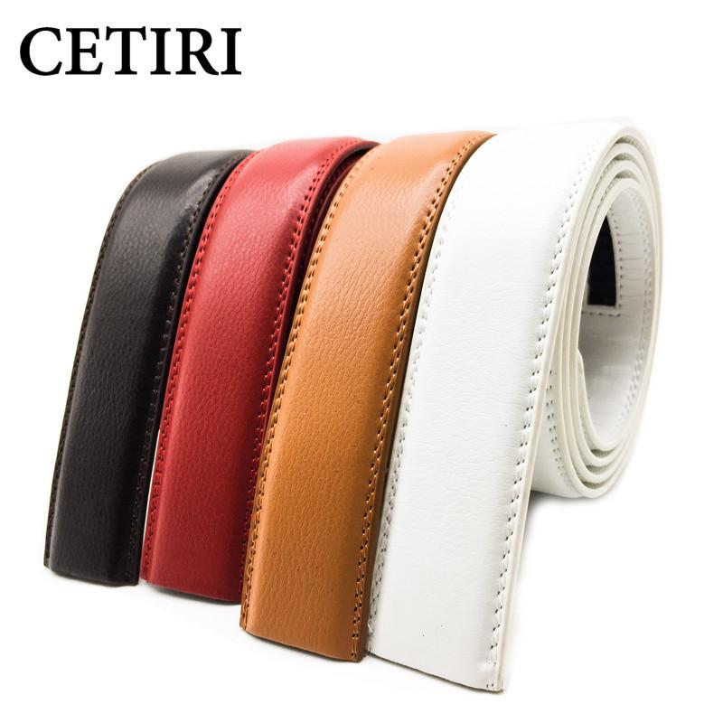 Surprising Day 5 Color No Buckle Mens Belts Body 3.5cm Wide Cowskin Genuine Leather Men Automatic Belt Body Kemer White White Belt Body 130cm