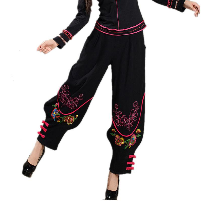 2a4dc53d008a8 Women Chinese Traditional Embroidery Harem Pants 2016 Black Wide Leg Bloomers  Elastic Waist Linen Pants Casual