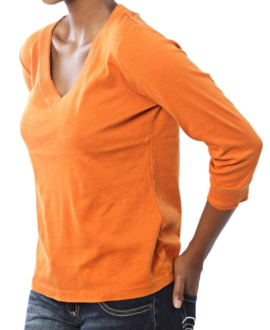 ¾ Sleeve V-Neck - Orange