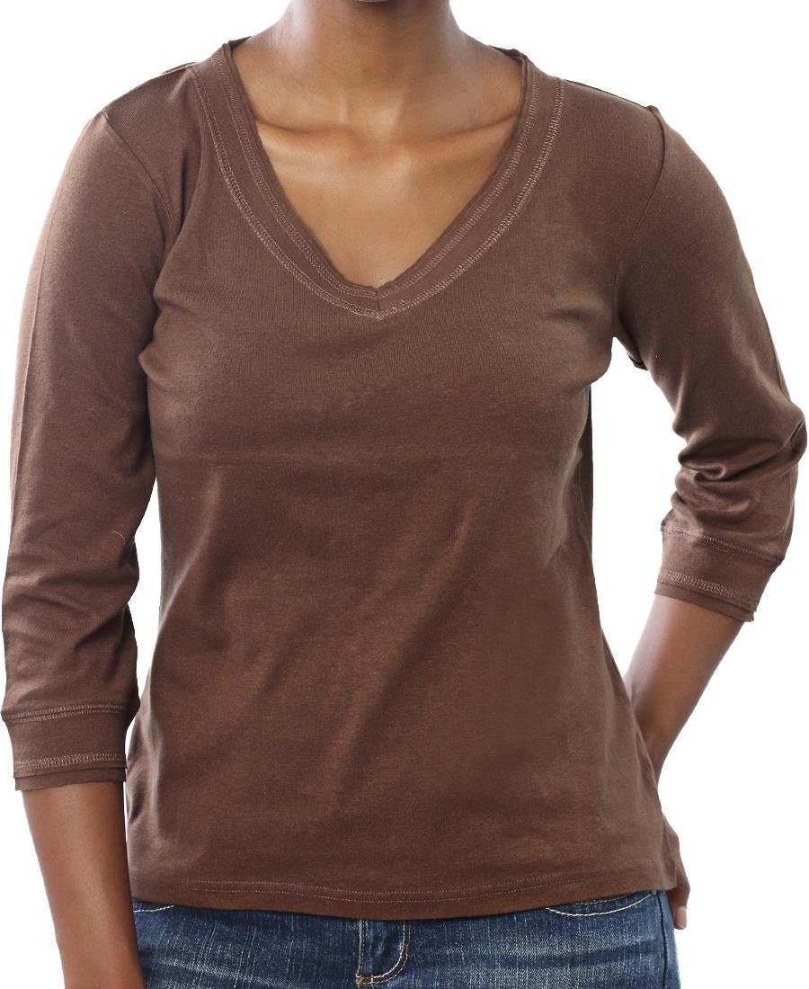 ¾ Sleeve V-Neck - Brown