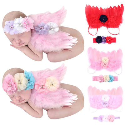 0-6M Baby Girls Angel Wings Wing Set Feather Newborn Photography Props Headband Feather Wings Baby Girl Flower Lace Hairband - Dailytechstudios