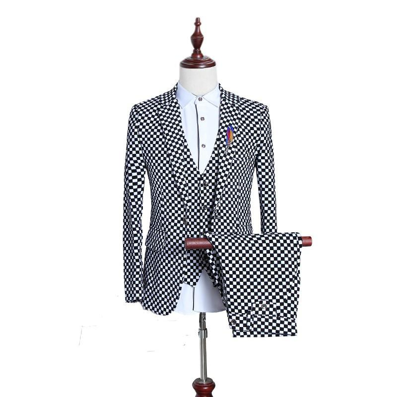 (3 Pieces/set) British Men Suit Black White Small Plaid Slim Fit Male Tuxedo Wear Mens Dress Suits Formal Wedding Suits For Men