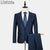 (Jacket + Pant) Men Wool Suit Wedding Dress Costume Homme Mens Suits With Pants Terno Slim Fit Masculino Clothing Male Blue E541