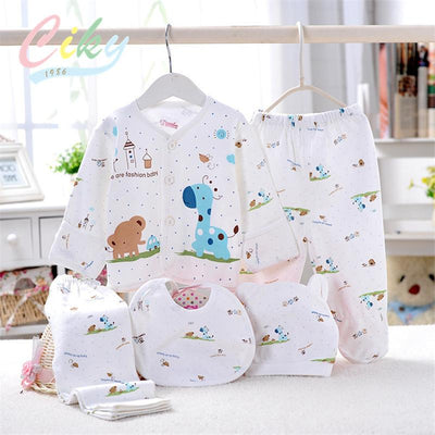 (5pcs/set)Newborn Baby Set 0-6M Cute Giraffe Infant Clothing Set Brand Boy Girl 100% Cotton Cartoon Underwear Yellow Blue Pink - Dailytechstudios