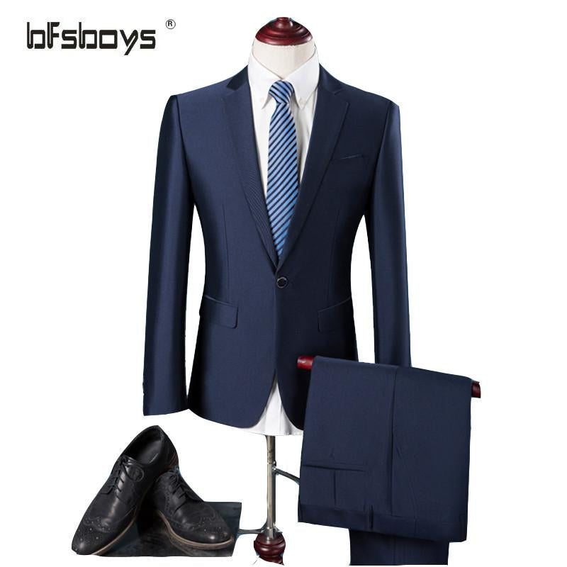 (Jacket+Pants) 2016 Men blue Slim Fit Stylish Casual One Button Suit Coat Groom Tuxedos Men Business Suit Blazer costume homme - Dailytechstudios