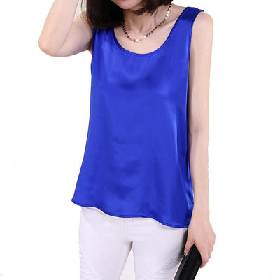 100% Pure Silk Women's Blouses Femme Classic Casual Blouse Women Loose OL Sleeveless Ladies Blusa Feminina Tank Tops For Woman  dailytechstudios- upcube