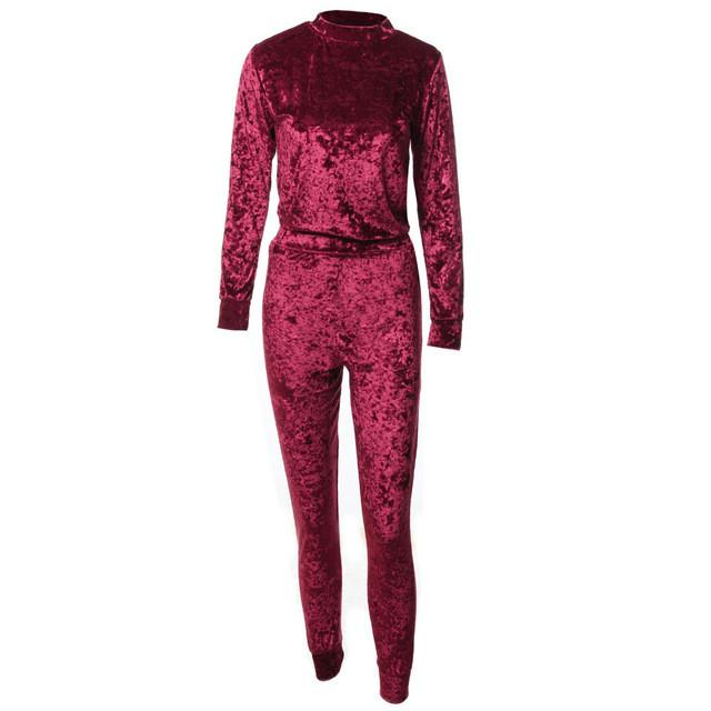 2 Piece Outfits Pleuche Velvet Jumpsuit Romper Womens Winter Spring Casual Tracksuit Set (Long-Sleeve Tops + Drawstring Pants)