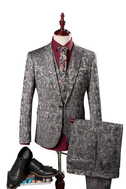 (Blazer+Pants+Vest) Herren Anzug Hochzeit Vines Floral Patterns Mens Designer Clothes Fashion Tuxedo Luxury Costume Homme M-3XL