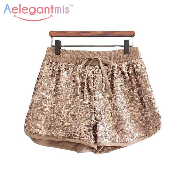(11.26 Special Offer) Aelegantmis Fashion Gold Sequin Shorts Women Elastic Waist Loose Shorts Spring Summer