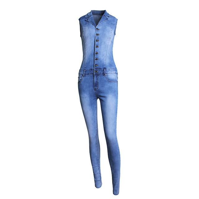 2015 Rompers Womens Jeans Jumpsuit Sexy Bodycon washed white Pockets Overalls Denim Sleeveless Club Wear Jumpsuits S-XL QL1899