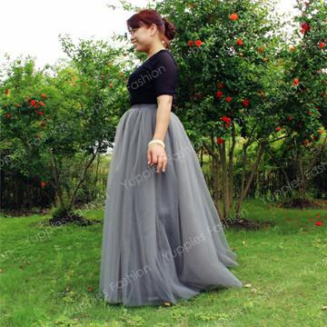100% Real Photos! 7 Layers Maxi Long Women Skirts Ladies Tulle Skirt American Apparel Wedding Ball Gown Faldas Jupe Saia
