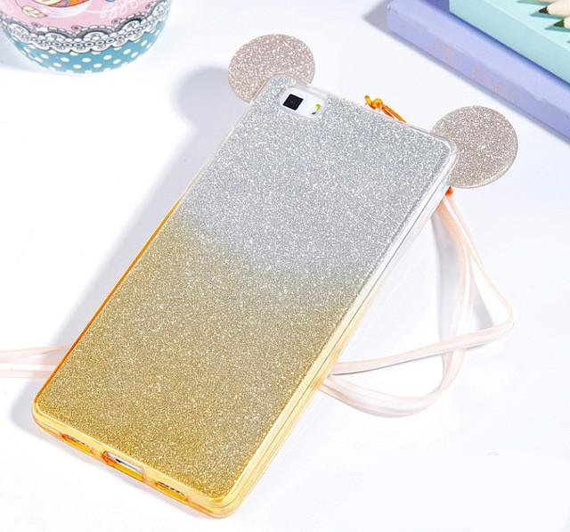 3D Mickey Minnie Mouse Ears Silicone Glitter Gradient Case for Huawei P8 P9 Lite Honor 4C Pro 4X 5X Case Cover phone cases  dailytechstudios- upcube