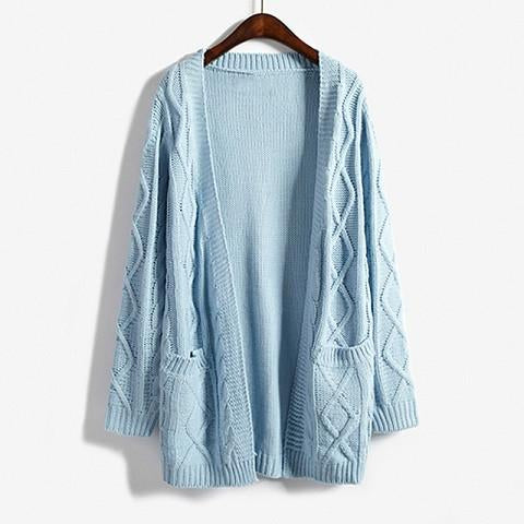 2017 Autumn Winter Female Twisted Sky Blue Sweater Outerwear Korean Style Loose Long Knitted Sweater Cardigan Women Gray Beige