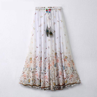 f12a5c6759c Fancy Flower Print Women Pleated Skirt Elastic Waist Long Chiffon Skirt for Women  Plus Size Bohemian