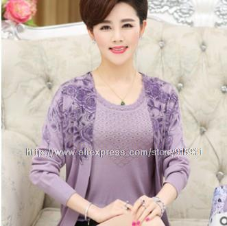 c50019fbb 2017 Autumn Women Knit Sweaters two- Piece Long-Sleeved Fashion ...
