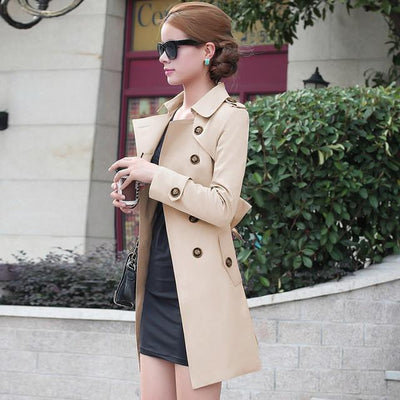 2016 Autumn British style Women's Trench Coat Fashion Slim Solid Double Breasted Ties medium-long wind-breaker Female Dust Coats  dailytechstudios- upcube