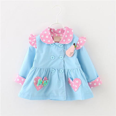 (3 colors) Baby spring fashion trench Kids spring outwear Girls cute heart shape pockets dots print coats  6-24 months ! - Dailytechstudios