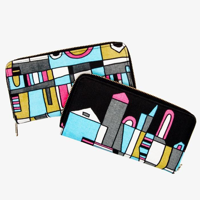 #1298 Skyline Canvas Zip Wallet - Dailytechstudios
