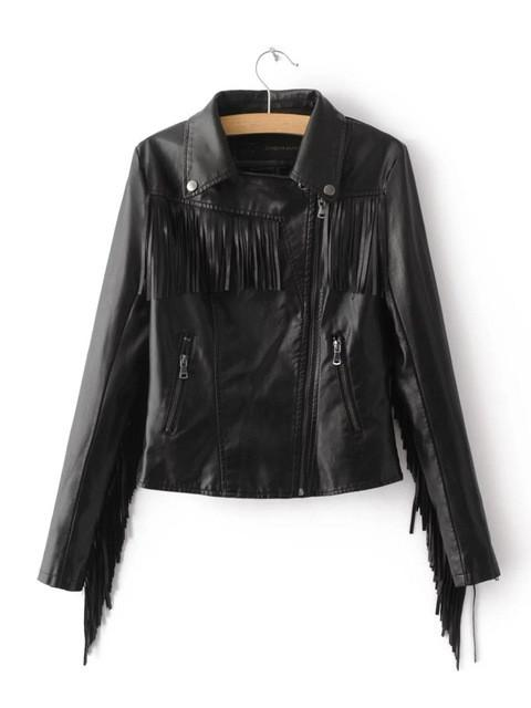 2017 autumn winter new fringed faux PU leather tassels sleeve back zippers women Motorcycle Jacket coat black jaqueta couro Basic Jackets CHERISH&FASHION- upcube