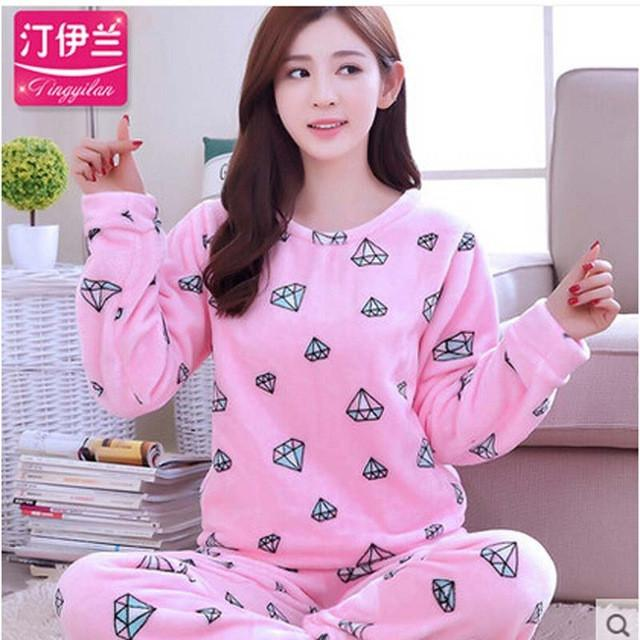 7152876632 Flannel Pyjamas Women Winter Pajamas For Women Long Sleeve Cartoon Printed  Sleepwear Pajama Sets Cute Home