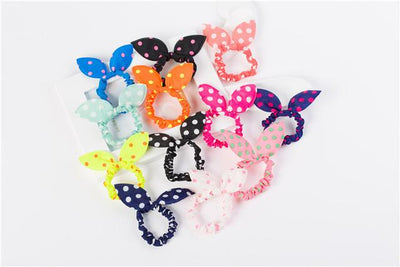 #AD17027 12pcs/lot Rabbit Ears Hair Gum Rezinochki Bright Color Wave Point Rubber For Hair Child Women Female Suitable - Dailytechstudios