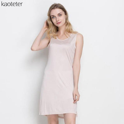100% Pure Silk Women's Slips Female Long Silk Knitting Bottoming Casual Shoulder-Straps Women Sleeveless Sleep Slip Dress Ladies Dresses Kaoteter Store- upcube