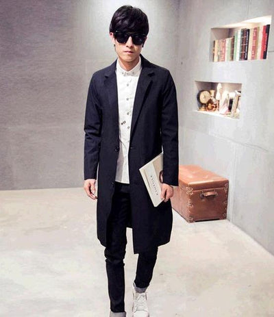 2017 Autumn New Men's Long Coat autumn Male Trench Coats Turn-Down Collar Fashion Jackets Plus Size M-3XL Black Red Blue