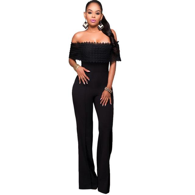 3cb444375403 2016 Hot Sale Rompers Womens Jumpsuit Sexy Black White Lace Elegant Off  Shouder Bodysuit For Women Outfits Long Pants Write Review