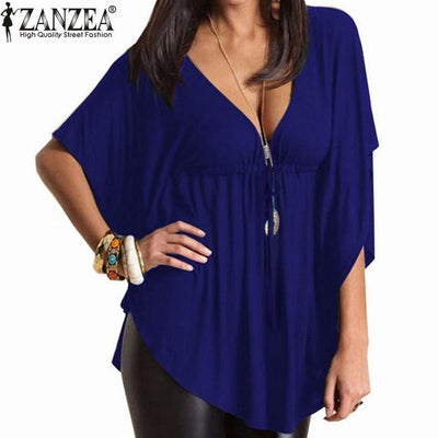 Blusas 2017 Summer Women Trendy Sexy Casual Loose V Neck Batwing Sleeve Tee Tops Ladies Solid Blouses Shirts US Plus Size 4-24 Blouses & Shirts Fighting!!! Store- upcube
