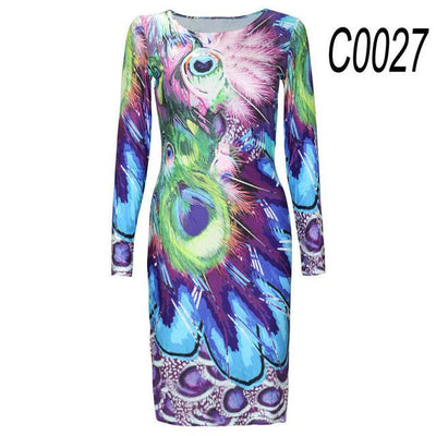2017 Autumn New Party Dresses Long-sleeved Dresses Slim O-neck Retro Print Sexy celebrity Women Dress Casual Dress Plus Size