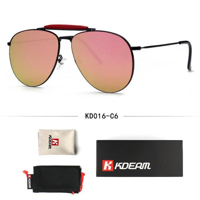 100% UV Polished Gold Luxury Sunglasses Men 59mm Coating Aviate Flat Lens Sun Glasses Women oculos de sol With Case KDEAM CE