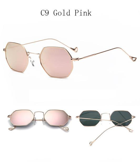 de95fae1904 Fashion Women Sunglasses Small frame polygon Clear lens Sunglasses Brand  Designer Men vintage Sun Glasses Hexagon