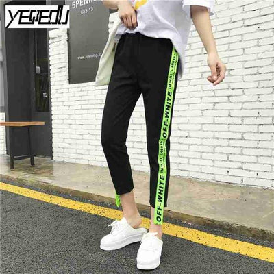 #1642 Summer 2017 Loose pantalon femme Punk Thin Side stripe Ankle-length Two side ribbon Casual Hip hop pants Joggers women - Dailytechstudios