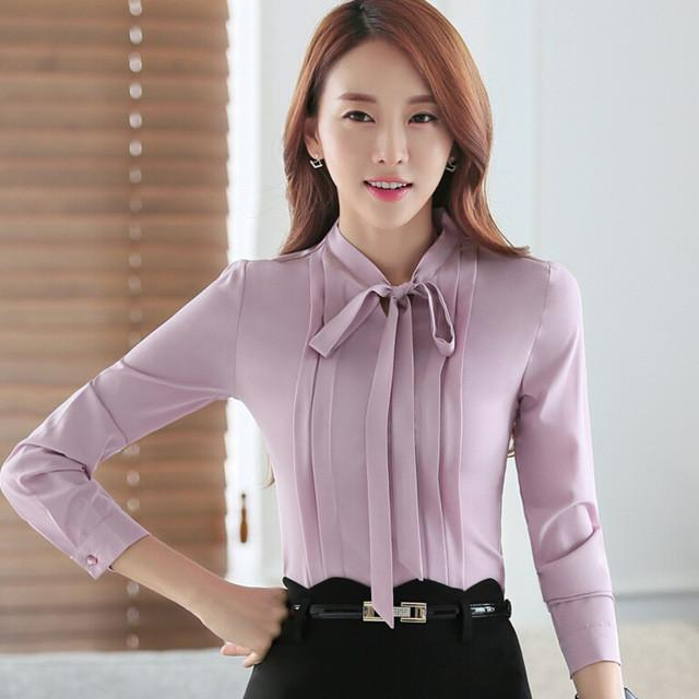1032c300c69 2016 Autumn OL elegant bow slim shirt women s long sleeve Formal chiffon  blouse office ladies plus size fashion tops work wear Write Review
