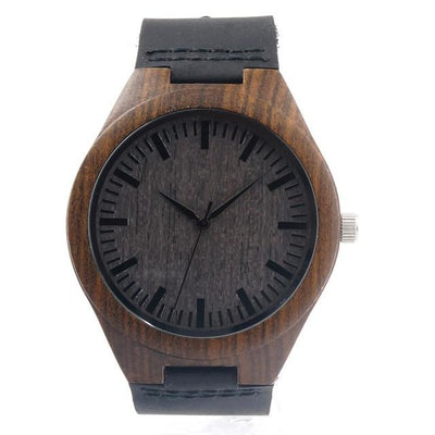 BOBO BIRD Men's Sandalwood Wood Watch Black Dial Quartz Wristwatch Genuine Leather Strap Available man watches 2016 brand luxury Quartz Watches BOBO BIRD Factory store- upcube