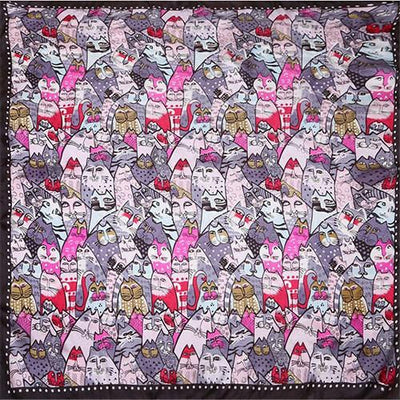 100% Silk Scarf Women Scarf Cat Scarf Silk Bandana 2017 Hijab Hot Design Print Animal Cat Middle Square Silk Scarf Gift for Lady