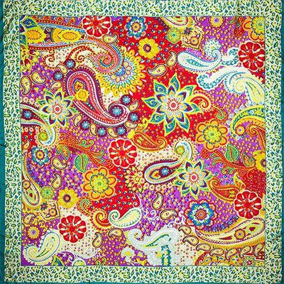 100% Silk Scarf Women Scarf Paisley Scarf Silk Bandana Hot Hijab 2017 Top Foulard Flower Hot Middle Square Silk Scarf Lady Gift