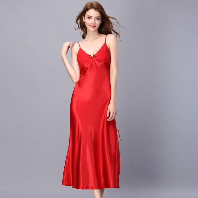 Long red nightgown sexy