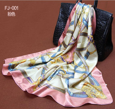 1PC 90*90cm Europe hot style bucket printed square satin silk scarves woman bandana S9A9140  URQ Official Store- upcube