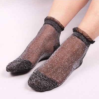 1Pair Women Lace Socks Crystal Glass Silk Short Thin Transparent Female Socks  Tansy Store- upcube