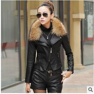 2017 Autumn New Women Genuine Racoon Dog Fur Collar Leather Jacket Slim Stand Collar Plus Cotton Motorcycle leather jacket 3XL