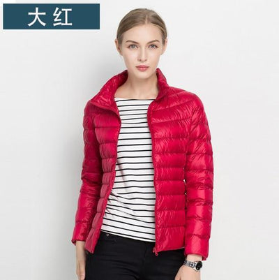 1PC 17 Colors Thin Down Jacket Women Slim Short Coats Stand Collar Autumn Jackets Spring Coat Winter Outerwear Z595 Parkas Luzuzi Store- upcube