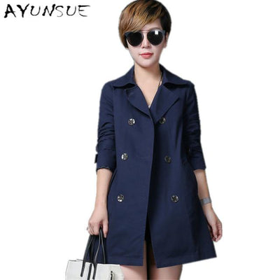 100% Cotton Plus Size Navy Coat Female Spring Autumn Windbreaker Women European Trench Coat Para As Mulheres Women's Coat FYY254 Coats Large Size Men Women Clothes Store- upcube