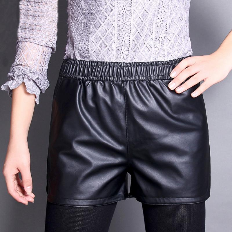 women leather short lady girl sexy pu summer shorts hot mini capris girl faux leather short with pocket
