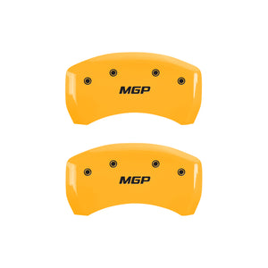 MGP 4 Caliper Covers Engraved Front & Rear MGP Yellow Finish Black Char 2008 Nissan 350Z