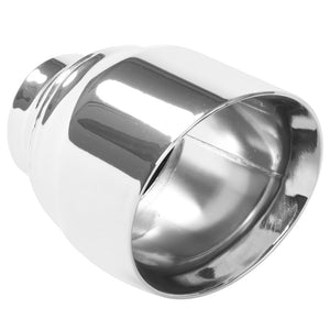 MagnaFlow Tip Stainless Double Wall Round Single Outlet Polished 4.5in DIA 2.5in Inlet 5.75in Length