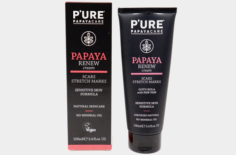 Papaya Renew Cream | Scars & Stretch Marks | Daily Face & Body Moisturizer | Sensitive Skin | Skin Care | P'ure Papayacare | Natural Wonders