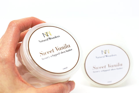 Vanilla Whipped Shea Butter in Canada | Online Shop | Extra Hydration | Body Butter | Helps with cracked heels and dry elbows | Dry Skin | Eczema | Psoriasis | Sweet Vanilla| Natural Wonders