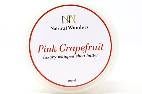 Grapefruit & May Chang Whipped Shea Butter in Canada | Online Shop | Extra Hydration | Body Butter | Helps with cracked heels and dry elbows | Dry Skin | Eczema | Psoriasis | Pink Grapefruit | Natural Wonders