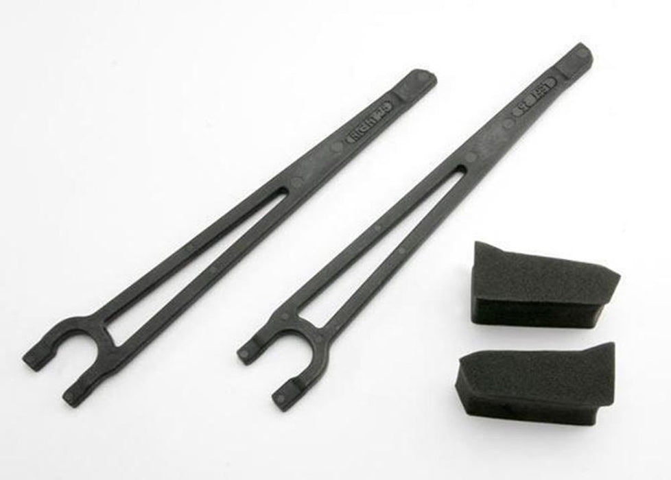 Traxxas 3927 - Hold Downs, Battery, Left & Right (2)/ Foam Spacers (2)